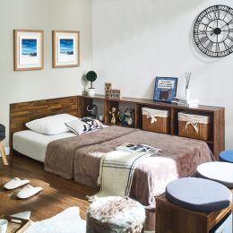 Irvine-Acacia-Q  Queen Panel Bed w/ Boxes