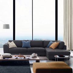 Cori-Grey  Leather-Look Sofa w/ Chaise