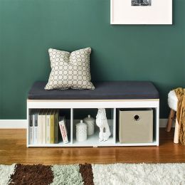 J3-Vintage-DG  Storage Bench w/ Cushion