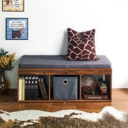 J3-Acacia-DG  Storage Bench w/  Cushion