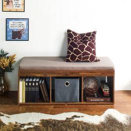 J3-Acacia-KK  Storage Bench w/  Cushion