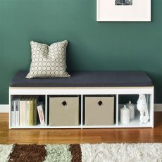 J4-Vintage-DG  Storage Bench w/  Cushion
