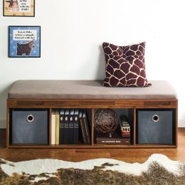 J4-Acacia-KK  Storage Bench w/  Cushion