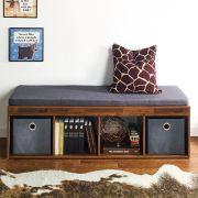 J4-Acacia-DG  Storage Bench w/ Cushion
