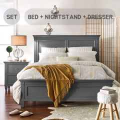 Tamarack-Grey  Queen Panel Bed Set  (침대+협탁+화장대+거울)