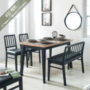 Miso-4-Black  Dining Set  (1 Table + 2 Chairs + 1 Bench)