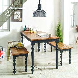 D3400-4-Bench-Black  Dining Set