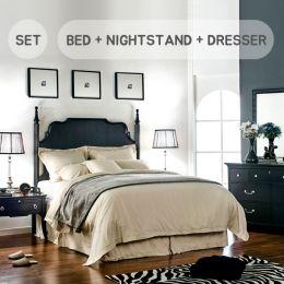 (0)Mandy-QN-Set  Queen Panel Bed  (침대+협탁+화장대+거울)