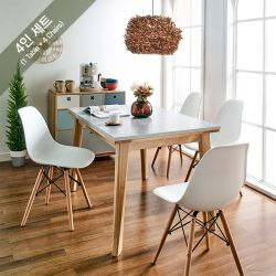 Dana-4C-BB-WHT  Dining Set   (1 Table + 4 Chairs)