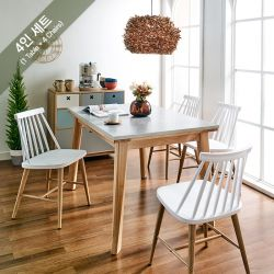 Dana-4C-8311-WHT  Dining Set   (1 Table + 4 Chairs)