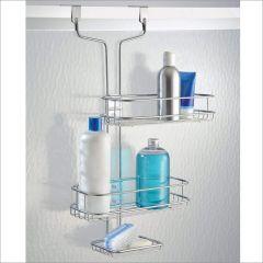 69486EJ  Linea Adjustable Over Door Shower Caddy Silver