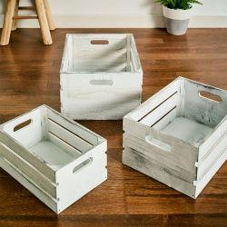 ZD-463-Cream Wooden Box  (3 Pcs)