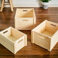 ZD-464-Natural Wooden Box  (3 Pcs)