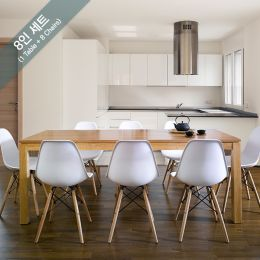 Ocean-N8B-White 8  Dining Set  (1 Table + 8 Chairs)