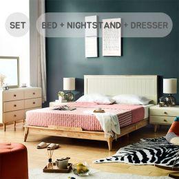 Rora-QB-Ivory Set  Queen Panel Bed Set  (침대+협탁+화장대+거울)