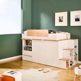 Sky-Ivy-Oak Single Storage Bed w/ Steps