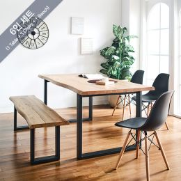 Holly-BB-Black Wooden Slab Dining Set(1 Table + 3 Chairs + 1 Bench)