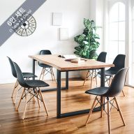 Holly-BB-Black-6C Wooden Slab Dining Set(1 Table + 6 Chairs)