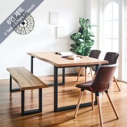 Holly-M-Brown Wooden Slab Dining Set(1 Table + 3 Chairs +1 Bench)