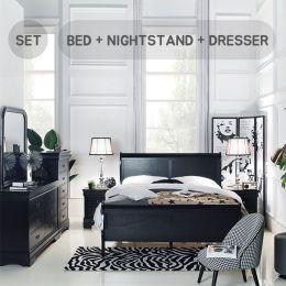 Louis-Black-Q-Set  Queen Panel Bed  (침대+협탁+화장대+거울)
