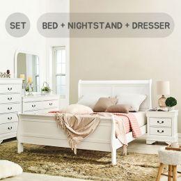 Louis-White-Q-Set Queen Sleigh Bed  (침대+협탁+화장대+거울)