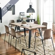 DT1417-Brown-6C Wooden Slab Dining Set(1 Table + 6 Chairs)