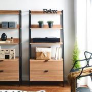 SLR-2D-Black-80-Oak  Wall Unit  (2-Drawer)
