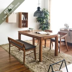 Roomy-4-Walnut  Dining Set (1 Table + 2 Chairs + 1 Bench)