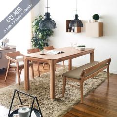 Roomy-6-Natural  Dining Set (1 Table + 3 Chairs + 1 Bench)