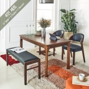 Caso-4-Walnut  Dining Set (1 Table + 2 Chairs + 1 Bench)