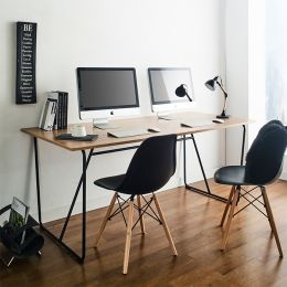 R-IK-Large-Blk-Oak-D Large Desk  +++No Bending Structure+++