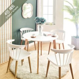Mar-TC-Wht-4  Dining Set (1 Table + 4 Chairs)