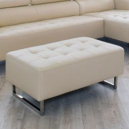 Dolly-Ivory  Leather Ottoman