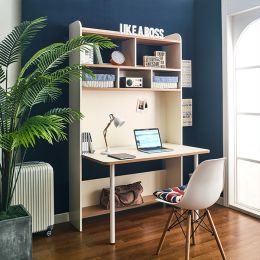 Leaders-10-Ivory  Desk w/ Bookcase  (23t Top)