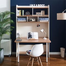 Leaders-10-Oak  Desk w/ Bookcase  (23t Top)