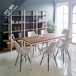 iK-16i-Oak-Liva-6 Dining Set(1 Table + 6 Chairs)