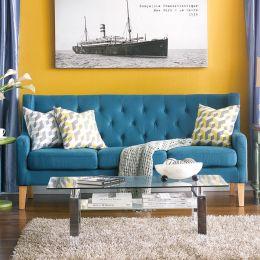 Alfred-Petrol  3-Seater Sofa