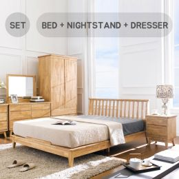 NB-Natural-Q Bed Set  Queen Bed  (침대+협탁+화장대+거울)