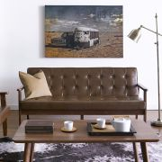DT-1905-Coffee-PU 3-Seater Sofa