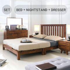 Coco-Q Bedroom Set (Acacia 원목)   (침대+협탁+화장대+거울)