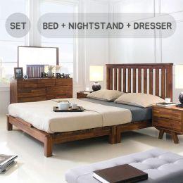 Coco-Q Bed Set Queen Bed  (Acacia 원목)   (침대+협탁+화장대+거울)