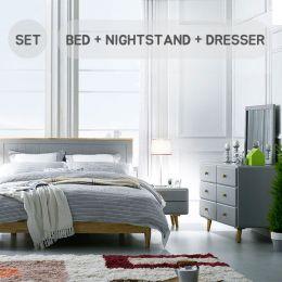 Rora-QB-Grey Set  Queen Panel Bed Set  (침대+협탁+화장대+거울)