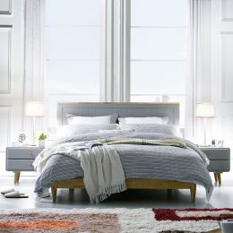 Rora-QB-Grey  Queen Panel Bed