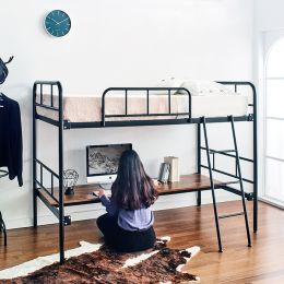 Polo-Black-Low  Bunker Bed w/ Desk
