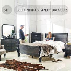 Louis-Grey-Q-Set  Queen Panel Bed  (침대+협탁+화장대+거울)