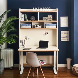 Leaders-30-Ivory  Desk w/ Bookcase  (23t Top)