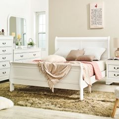 Louis-White-Q Queen Sleigh Bed